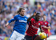 9th September 2017, Ibrox Park, Glasgow, Scotland; Scottish Premier League football, Rangers versus Dundee; Scarfs on sale out side Ibrox, home of Rangers