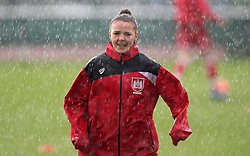 Loren Dykes defender for Bristol City Women warms up in the rain - Mandatory by-line: Robbie Stephenson/JMP - 25/06/2016 - FOOTBALL - Stoke Gifford Stadium - Bristol, England - Bristol City Women v Oxford United Women - FA Women's Super League 2