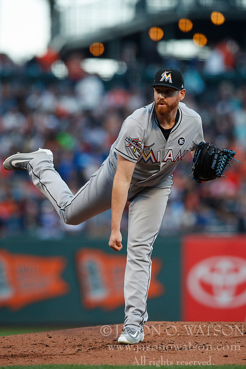 SAN FRANCISCO, CA - JULY 07: Dan Straily #58 of the Miami Marlins pitches against the San Francisco Giants during the first inning at AT&T Park on July 7, 2017 in San Francisco, California. The Miami Marlins defeated the San Francisco Giants 6-1. (Photo by Jason O. Watson/Getty Images) *** Local Caption *** Dan Straily