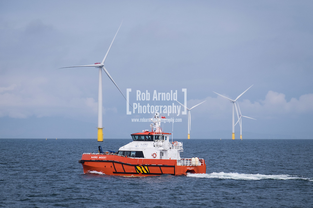 A crew transfer vessel (CTV), Njord Avocet, on Walney Extension Offshore Wind Farm