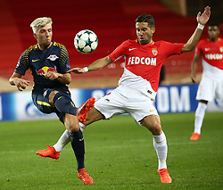 FONTVIEILLE, Nov. 22, 2017  Joao Moutinho (R) of Monaco competes with Kevin Kampl of Leipzig during their Group G match of UEFA Champions League in Fontvieille, Monaco on Nov. 21, 2017. Monaco was defeated 1-4. (Credit Image: © Serge Haouzi/Xinhua via ZUMA Wire)
