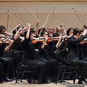 November 25, 2012 - New York, NY : The New York Youth Symphony, lead by music director Joshua Gersen (not visible), kicks off its 50th season with a rendition of Shostakovich's 'Festive Overture, Op. 96 (1954)', in Carnegie Hall's Isaac Stern Auditorium on Sunday afternoon. CREDIT: Karsten Moran for The New York Times
