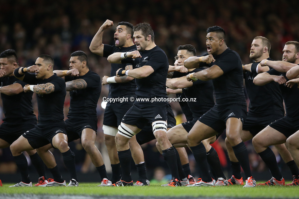 Northern Tour - Wales v All Blacks, 22 November 2014<br /> All Blacks' Richie McCaw during the Haka<br /> Mandatory Credit &copy;Photosport/Inpho/Billy Stickland