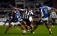 Photo: Jed Wee.<br /> Newcastle United v Portsmouth. Carling Cup. 25/10/2006.<br /> <br /> Newcastle's Kieron Dyer (C) makes a return to action following a lengthy injury lay off.