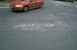 Lifestyle people family. Street graffiti regarding politics in Washington, DC
