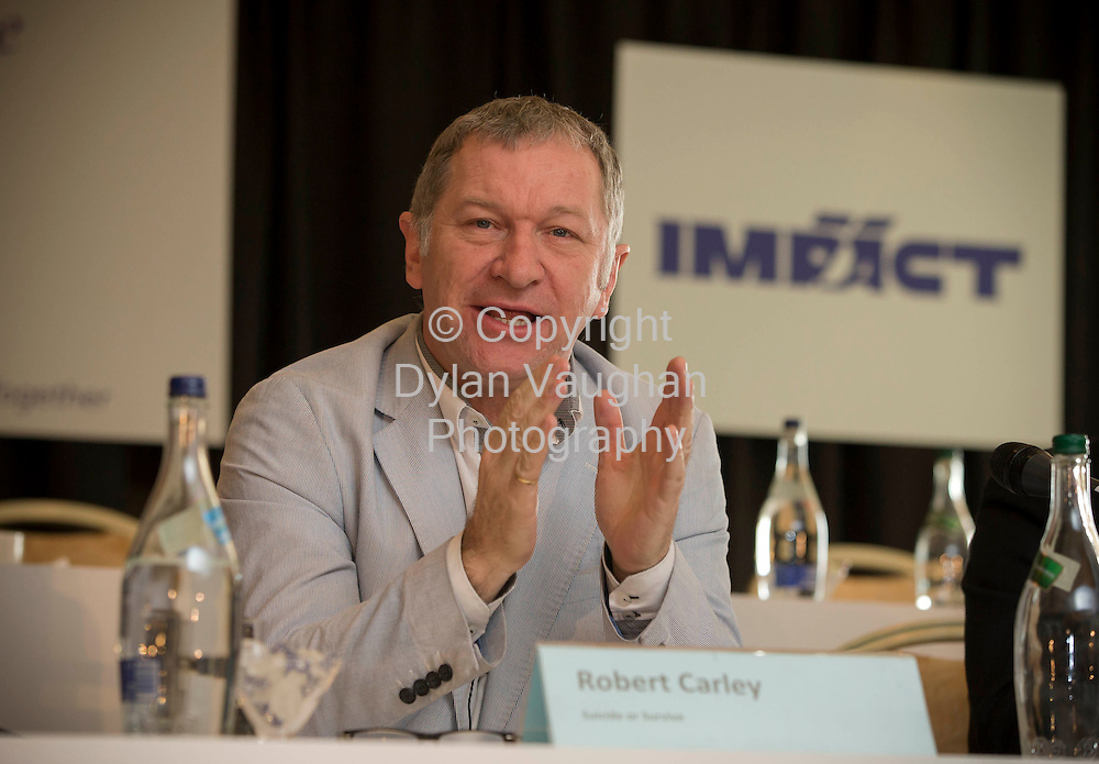 Repro Free No Charge for Repro.5/4/2013..Robert Carley from Suicide or Survive pictured at the inaugural conference of IMPACT's Education Division in Kilkenny..Picture Dylan Vaughan...Further information.Bernard Harbor 087-230-1262.Niall Shanahan 087-264-8092.