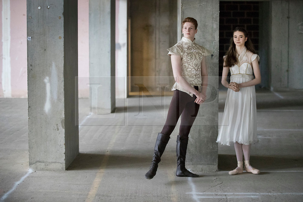 © Licensed to London News Pictures. 21/03/2017. London, UK. Dancers Ruaridh Bisseet, 19 and Amy McEntee, 18 stand in The Central School of Ballet's newly announced building in central London. The dancers wear costumes from their forthcoming nationwide Ballet Central tour 2017 against the backdrop of the unfinished interior of the new premises. Photo credit: Peter Macdiarmid/LNP