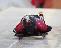 February 12, 2018 - Pyeongchang, KOREA - Elisabeth Vathje (CAN) at the ladies skeleton training during the Pyeongchang 2018 Olympic Winter Games. (Credit Image: © David McIntyre via ZUMA Wire)