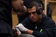 DALLAS, TX - MARCH 14:  Anthony Pettis has his hands wrapped backstage before his fight against Rafael Dos Anjos during UFC 185 at the American Airlines Center on March 14, 2015 in Dallas, Texas. (Photo by Cooper Neill/Zuffa LLC/Zuffa LLC via Getty Images) *** Local Caption *** Anthony Pettis
