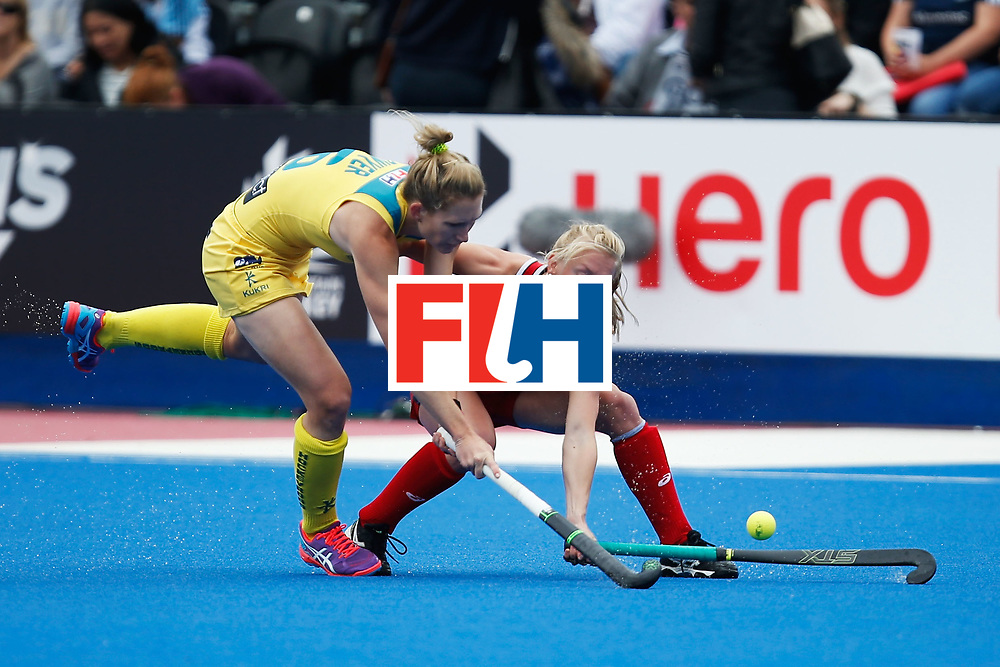 LONDON, ENGLAND - JUNE 18:  Kirstin Dwyer of Australia and Jill Witmer of the USA battle for the ball during the FIH Women's Hockey Champions Trophy 2016 match between United States and Australia at Queen Elizabeth Olympic Park on June 18, 2016 in London, England.  (Photo by Joel Ford/Getty Images)