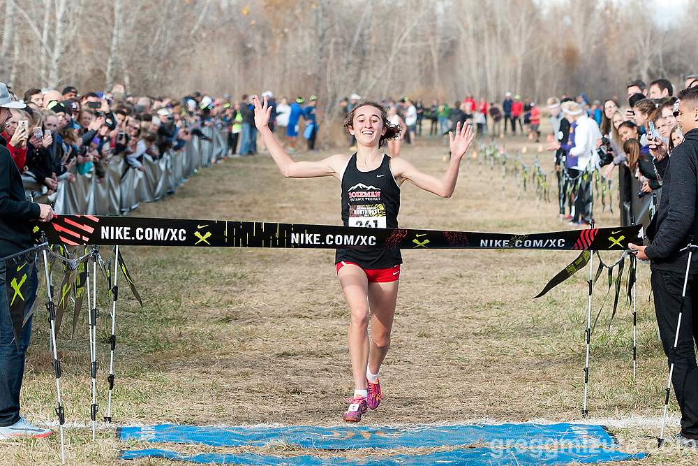 Bozeman senior Camila Noe wins the Nike Cross Regionals Northwest Girls Championship Race in a course record time of 17:13.5 on November 11, 2017 at Eagle Island State Park, Eagle, Idaho.