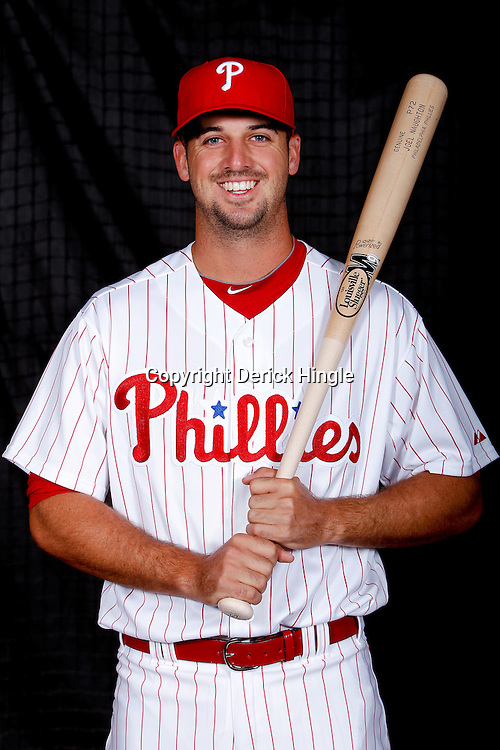 February 22, 2011; Clearwater, FL, USA; Philadelphia Phillies catcher Joel Naughton (67) poses during photo day at Bright House Networks Field. Mandatory Credit: Derick E. Hingle
