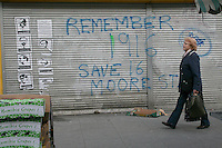 Moore Street, a traditional market area of Dublin Ireland, graffiti on shop shutters about saving no. 16. 16 Moore Street is thought to be the final headquarters of the leaders of the 1916 Rising