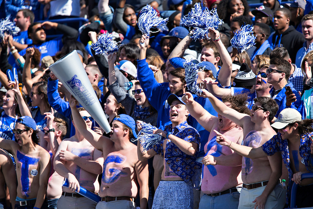MEMPHIS, TN - OCTOBER 17:  Fans of the Memphis Tigers celebrate during a game against the Ole Miss Rebels at Liberty Bowl Memorial Stadium on October 17, 2015 in Memphis, Tennessee.  The Tigers defeated the Rebels 37-24.  (Photo by Wesley Hitt/Getty Images) *** Local Caption ***