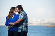 Bride and Groom poses for their engagment portraits in San Francisco, California, near Fort Point and the Golden Gate Bridge on May 1, 2016. (Stan Olszewski/SOSKIphoto)