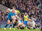 Twickenham, United Kingdom. [L-R], Sergio PARISSE, Owen FARRELL, [Fumbles the ball], Danny CARE, tackled by Michelle CAMPAGNARO, and Ben TE&quot;O,  during the  6 Nations International Rugby Match, England vs Italy at the RFU Stadium, Twickenham, England, <br /> <br /> Sunday  26/02/2017<br /> <br /> [Mandatory Credit; Peter Spurrier/Intersport-images]