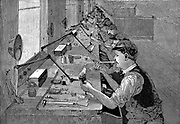 Soldering bicycle parts in an American factory (unnamed) Wood engraving, Leipzig c1900.