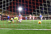 Nathan Tyson of Doncaster Rovers scores after missing his penalty during the Sky Bet League 1 match between Doncaster Rovers and Chesterfield at the Keepmoat Stadium, Doncaster, England on 24 November 2015. Photo by Ian Lyall.