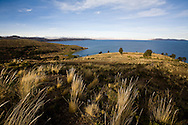 The Cordillera Real and Lake Titicaca in Bolivia during the sunny winter months.