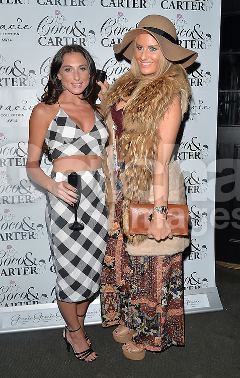 TOWIE stars Grace Andrews and Danielle Armstrong attend theCoco and Cater clothing launch party at Sugahut, Brentwood, Essex, UK. 23/10/2014<br />