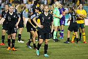 Ria Percival and her New Zealand Football Ferns teammates looking dejected after the Cup of Nations Women's Football match, New Zealand Football Ferns v Matildas, Leichhardt Oval, Thursday 28th Feb 2019. Copyright Photo: David Neilson / www.photosport.nz