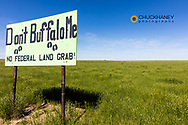 Sign on ranch property bordering the American Prairie Reserve near Malta, Montana, USA
