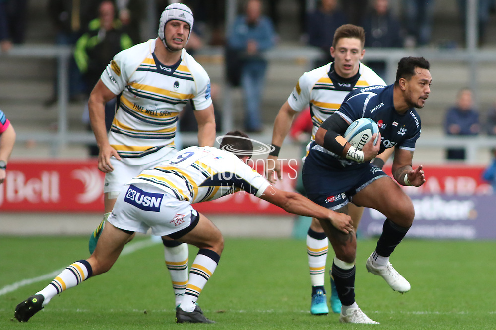 Sale Sharks Denny Solomona during the Gallagher Premiership Rugby match between Sale Sharks and Worcester Warriors at the AJ Bell Stadium, Eccles, United Kingdom on 9 September 2018.