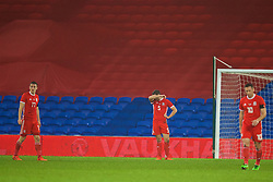 CARDIFF, WALES - Tuesday, November 14, 2017: Wales' James Chester looks dejected as Panama score a late injury time equalising goal during the international friendly match between Wales and Panama at the Cardiff City Stadium. (Pic by David Rawcliffe/Propaganda)