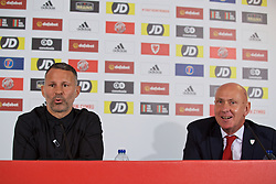 BARRY, WALES - Thursday, October 3, 2019: Wales manager Ryan Giggs (L) and head of public affairs Ian Gwyn Hughes during a press conference to announce his squad for the forthcoming UEFA Euro 2020 Qualifying Group E qualifying matches against Slovakia and Croatia. (Pic by David Rawcliffe/Propaganda)