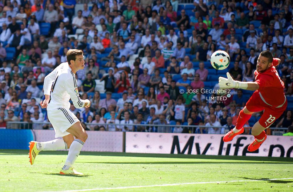 Gareth Bale in action during Real Madrid v Espanol, La Liga football match at Santiago Bernabeu on May 17, 2014 in Madrid, Spain