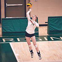 3rd year middle blocker, Rebecca Wood (14) of the Regina Cougars during the Women's Volleyball pre-season game on Sat Sep 22 at Centre for Kinesiology, Health & Sport. Credit: Arthur Ward/Arthur Images