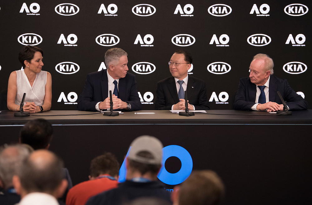 Kia Motors Signing Ceremony during the  2018 Australian Open on day 13 in Melbourne, Australia on Saturday afternoon January 27, 2018.<br /> (Ben Solomon/Tennis Australia)