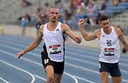 Jul 25, 2019; Des Moines, IA, USA; Zach Ziemek runs 10.87 in the decathlon 100m during the USATF Championships at Drake Stadium.