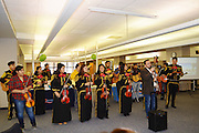 "The Sam Houston mariachi band performs for parents and community members during ""Coffee with the Principal."""