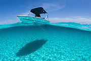 A boat is anchored in the clear blue tropical waters off Staniel Cay, Exuma, Bahamas as shown in this over/under water photograph