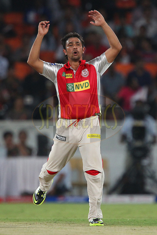 Azhar Mahmood reacts after bowling during match 25 of the Pepsi Indian Premier League between The Sunrisers Hyderabad and The Kings XI Punjab held at the Rajiv Gandhi International  Stadium, Hyderabad  on the 19th April 2013..Photo by Ron Gaunt-IPL-SPORTZPICS..Use of this image is subject to the terms and conditions as outlined by the BCCI. These terms can be found by following this link:..http://www.sportzpics.co.za/image/I0000SoRagM2cIEc