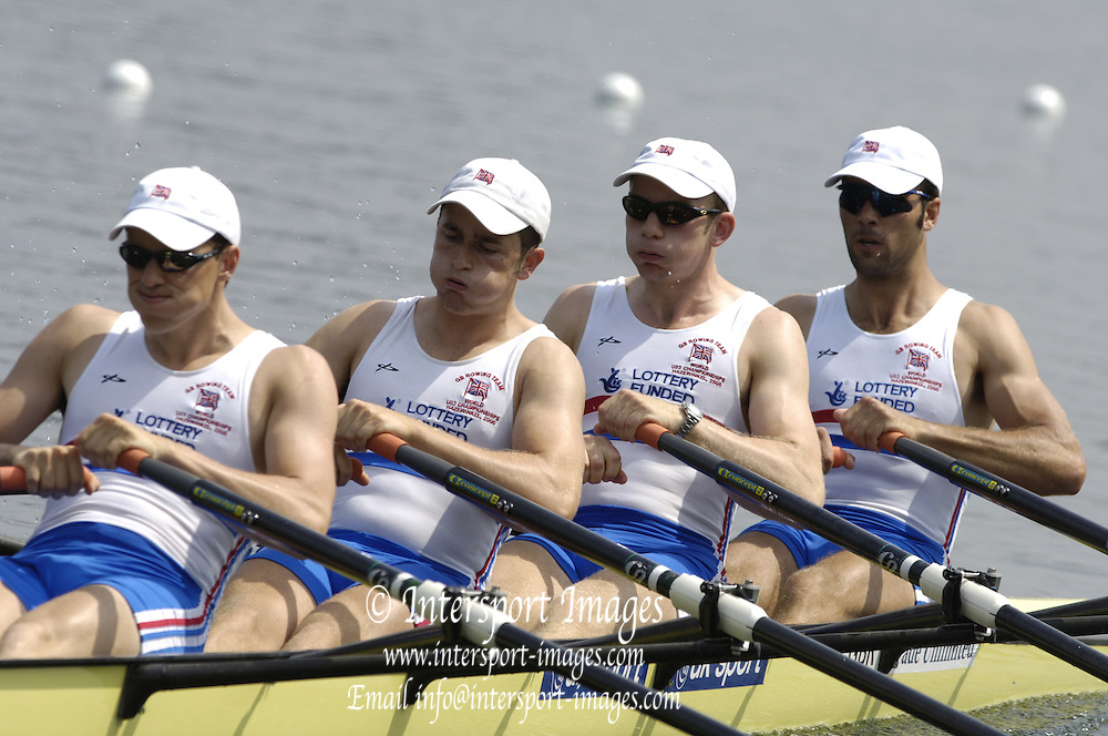 2006, U23 Rowing Championships, Hazewinkel, BELGIUM Thursday, 20.07.2006. GBR  BM4X-  bow, James DUNLEY, Jonathan FOSTER, Benjamin DUGGAN, George LAUGHTON> . Photo  Peter Spurrier/Intersport Images email images@intersport-images.com....[Mandatory Credit Peter Spurrier/ Intersport Images] Rowing Course, Bloso, Hazewinkel. BELGUIM