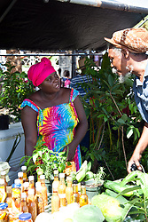 Jeanne Fatie Delsoin sells herbs, peppers, and produce