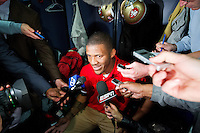 20 January 2013: Cornerback (25) Tarell Brown of the San Francisco 49ers speaks to the media in the locker room after defeating the Atlanta Falcons 28-24 in the NFC Championship Game at the Georgia Dome in Atlanta, GA to go to Superbowl XLVII.
