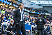 Fulham Head Coach Slavisa Jokanovic during the Sky Bet Championship match between Brighton and Hove Albion and Fulham at the American Express Community Stadium, Brighton and Hove, England on 15 April 2016. Photo by Bennett Dean.