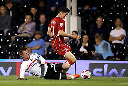 Callum O'Dowda of Bristol City is tackled by Ryan Tunnicliffe of Fulham - Mandatory by-line: Robbie Stephenson/JMP - 21/09/2016 - FOOTBALL - Craven Cottage - Fulham, England - Fulham v Bristol City - EFL Cup