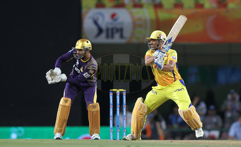 MS Dhoni captain of The Chennai Superkings during match 21 of the Pepsi Indian Premier League Season 2014 between the Chennai Superkings and the Kolkata Knight Riders  held at the JSCA International Cricket Stadium, Ranch, India on the 2nd May  2014<br /> <br /> Photo by Deepak Malik / IPL / SPORTZPICS<br /> <br /> <br /> <br /> Image use subject to terms and conditions which can be found here:  http://sportzpics.photoshelter.com/gallery/Pepsi-IPL-Image-terms-and-conditions/G00004VW1IVJ.gB0/C0000TScjhBM6ikg