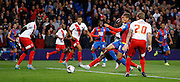 Dwight Gayle tries to get on the end of the driven in ball during the Capital One Cup match between Crystal Palace and Charlton Athletic at Selhurst Park, London, England on 23 September 2015. Photo by Michael Hulf.