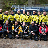 Tayside Fire & Rescue Water Rescue Exercise, The Hermitage, Dunkeld, Perthshire...04.05.10<br /> Back row from left, Firefighters, Rob Green, Stuart Morrison, Terry Walker, Jim Roberts, Paul McCallum, Grant Christie, James Moncur Daily Record reporter, Stewart Reid, Dave Lees, Charlie Kidd and Ross Cuthill.<br /> Front from left, Nici D'Arcy Taydside Police Search & Recsue Team, then Tayside Mountain Rescue Team members, Stuart Johnston, Dave Strachan, Paul Russell, Earle Wilson, Roger Clare and Jon Sanders.<br /> Picture by Graeme Hart.<br /> Copyright Perthshire Picture Agency<br /> Tel: 01738 623350  Mobile: 07990 594431