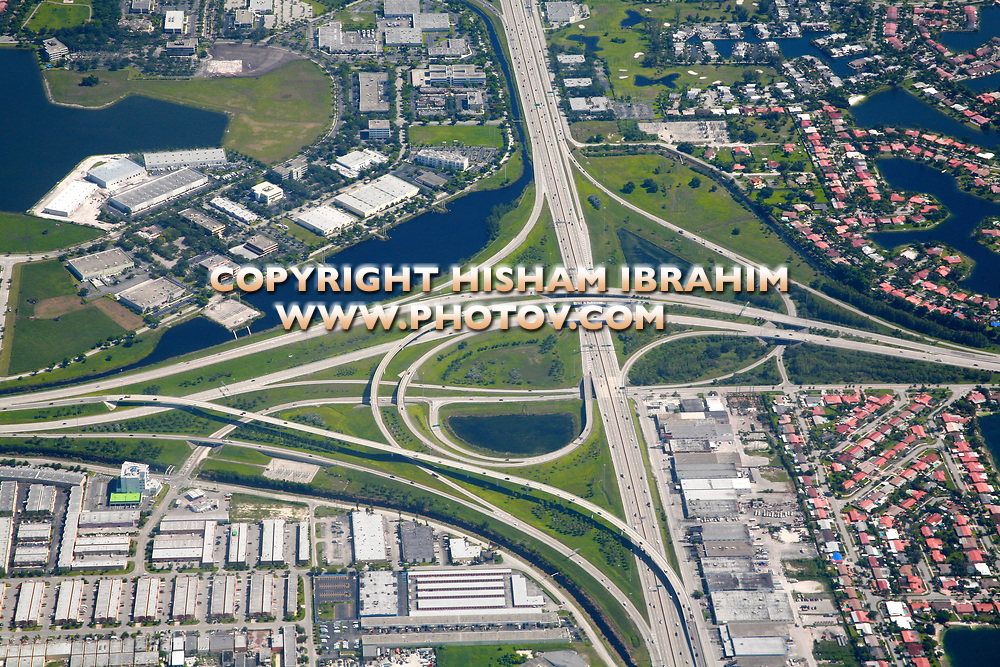 Highway interchange aerial, Miami, Florida, USA.
