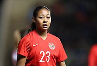 MANCHESTER, ENGLAND - APRIL 05: Jayde Riviere of Canaad during the International Friendly between England Women and Canada Women at The Academy Stadium on April 05, 2019 in Manchester, England. (Photo by Catherine Ivill/Getty Images)