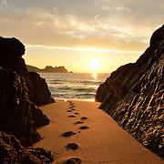 Walking down to Logan's rock at sunrise. Perranuthnoe.<br />