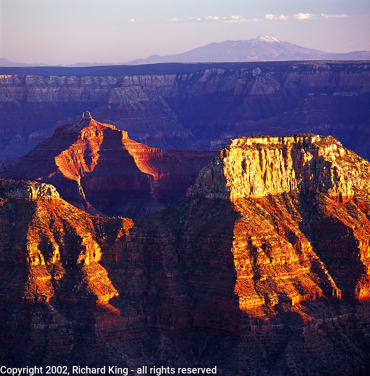 Isis Temple And Buddah Temple At Sunset, Grand canyon National Park - North Rim