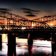 Broadway Bridge at Sunset, carrying traffic across the Missouri River