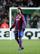 A dejected Ronaldinho reacts after Celtic score to make it 2-1. Celtic v Barcelona, Uefa Champions League, Knockout phase, Celtic Park, Glasgow, Scotland. 20th February 2008.